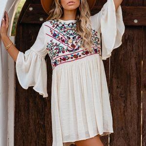 NWT Boho UMGEE Embroidered Peasant Dress Ivory